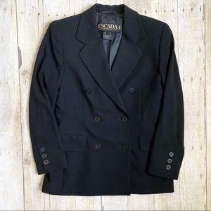 Escada Vintage Double Breasted Black Wool Blazer